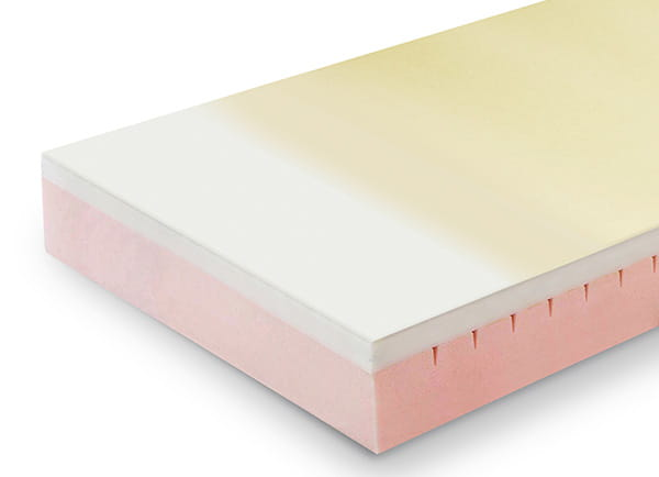 Sides of the mattress made of stiffer foam